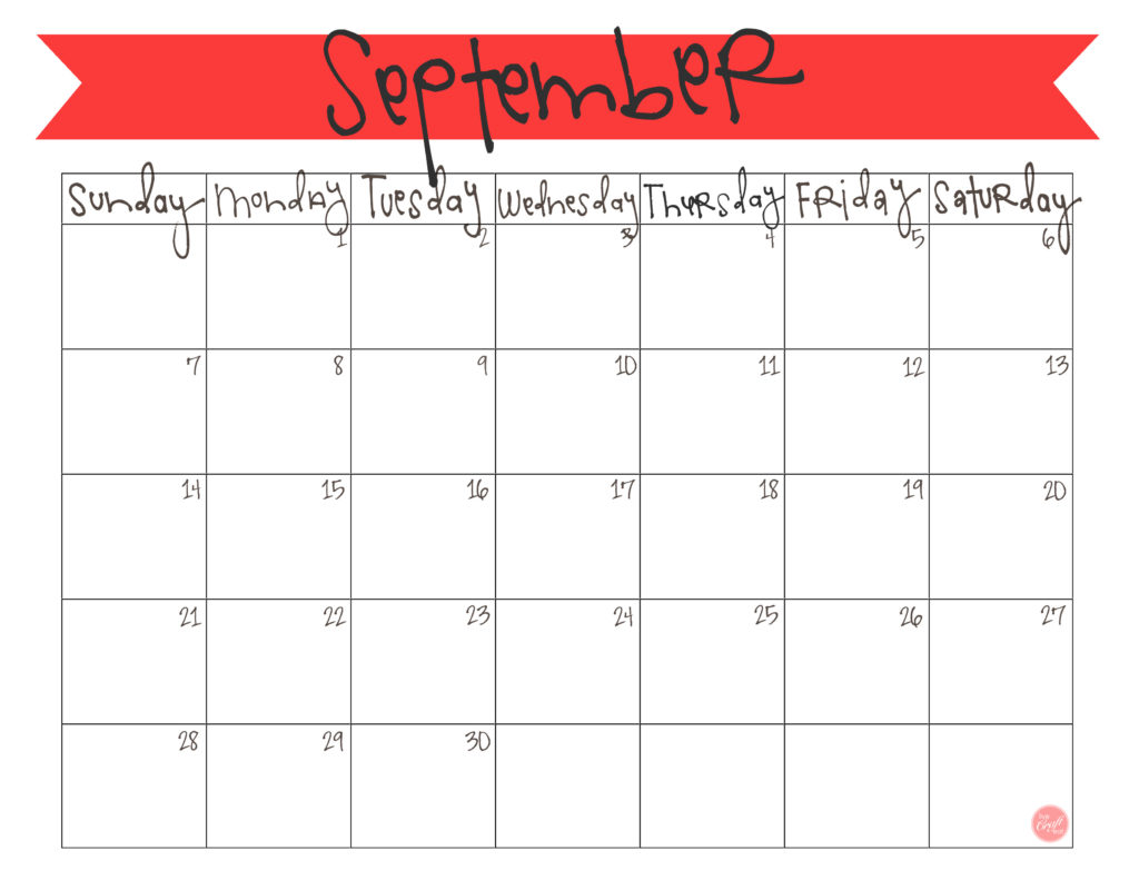 free printable calendar! september 2014