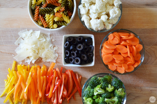 simple ingredients for a flavorful (and colorful!) pasta salad.