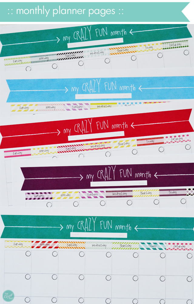 monthly calendars for a kid's school planner