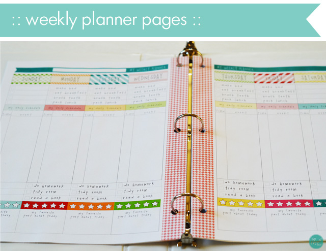weekly planner pages for a kids school planner