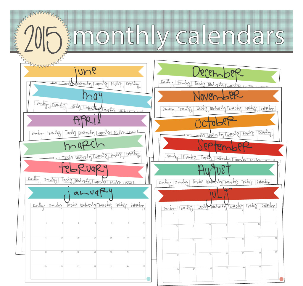 2015 printable monthly calendars