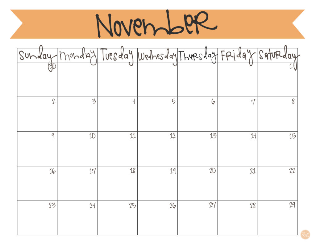 photo relating to Free Printable November Calendar called November 2014 Calendar - Free of charge Printable Dwell Craft Try to eat