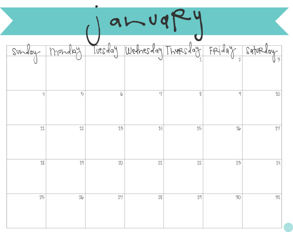 free printable january 2015 calendar