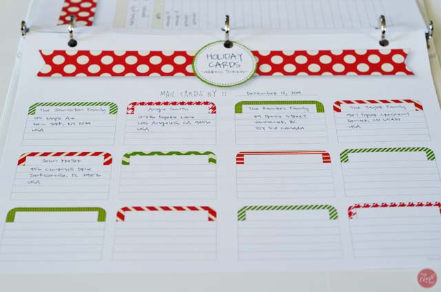 christmas card address tracker