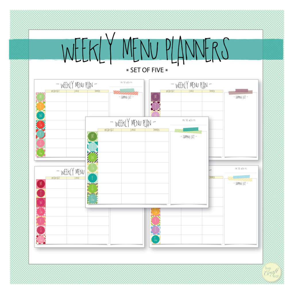 printable weekly menu planner and shopping list