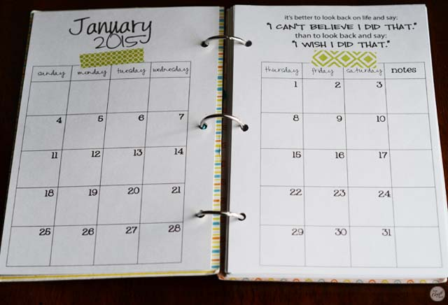 free printable 2015 A5 monthly calendars