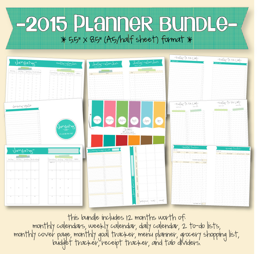 2015 planner bundle A5 format