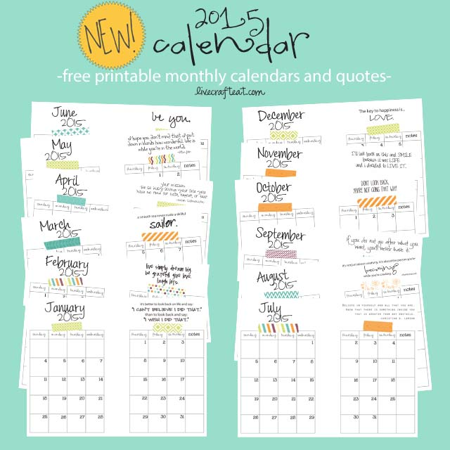Diy Quote Calendar : Calendar free printable monthly lce