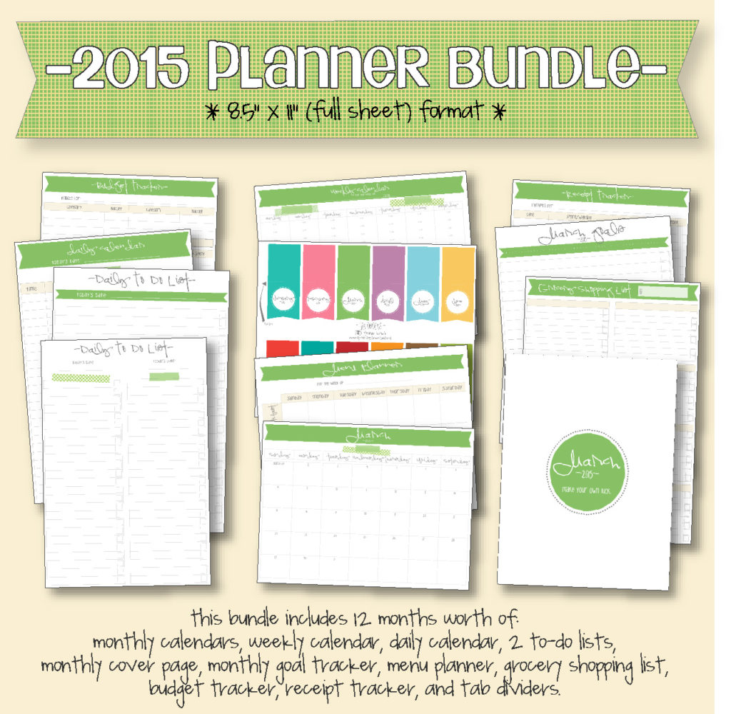 "2015 planner bundle 8.5"" x 11"""