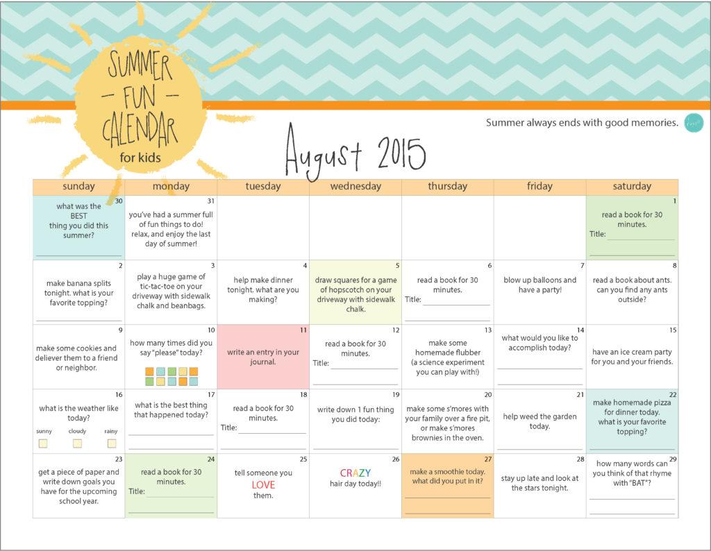 august 2015 kids summer calendar