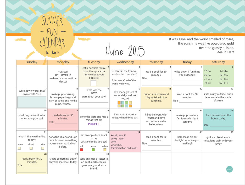 june 2015 summer fun activities calendar for kids