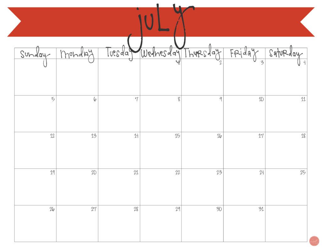 free printable july 2015 calendar!