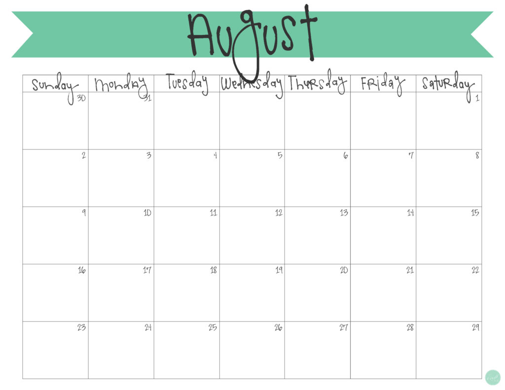 free printable monthly calendar :: august 2015
