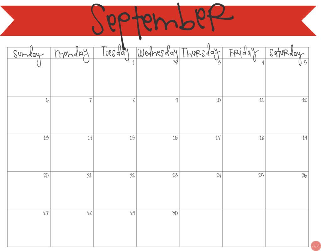 free printable september 2015 calendar!