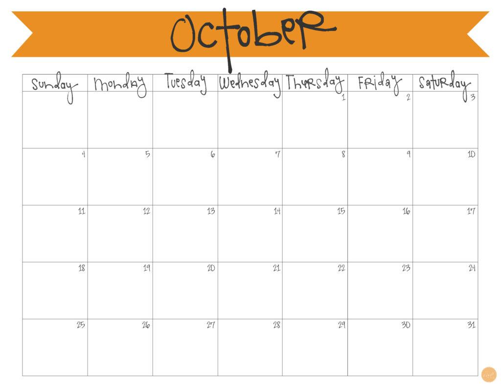 free printable calendar :: october 2015