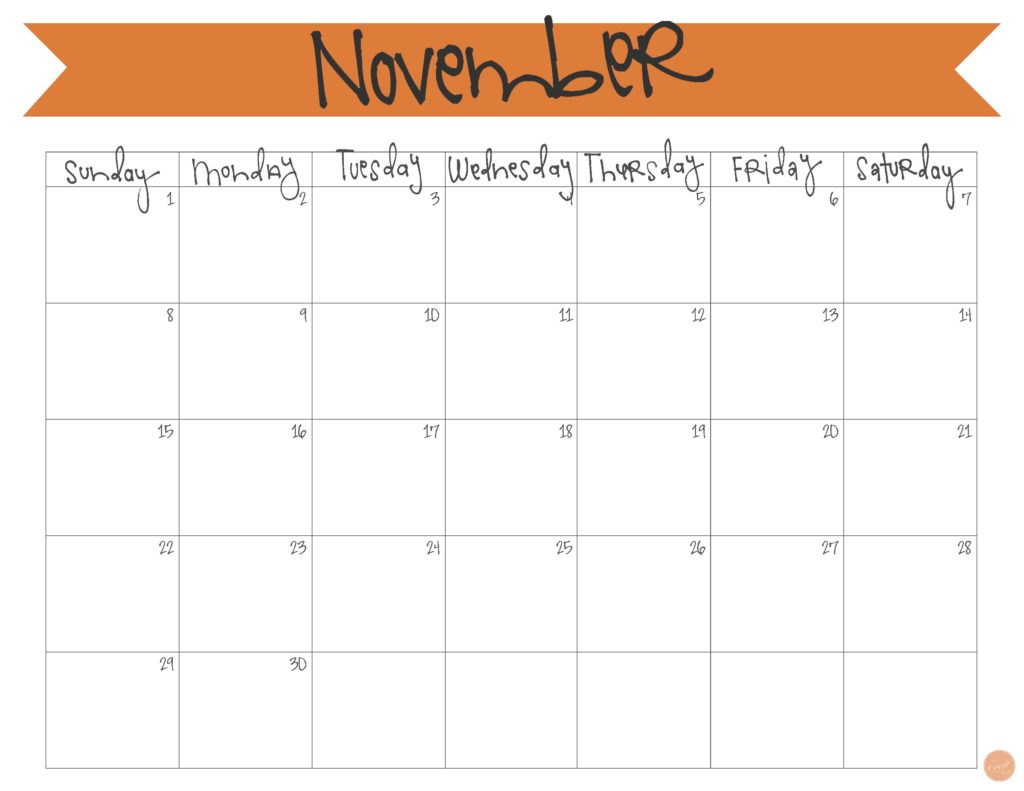 photo relating to Printable November Calendar named November 2015 Calendar - Totally free Printable Stay Craft Try to eat