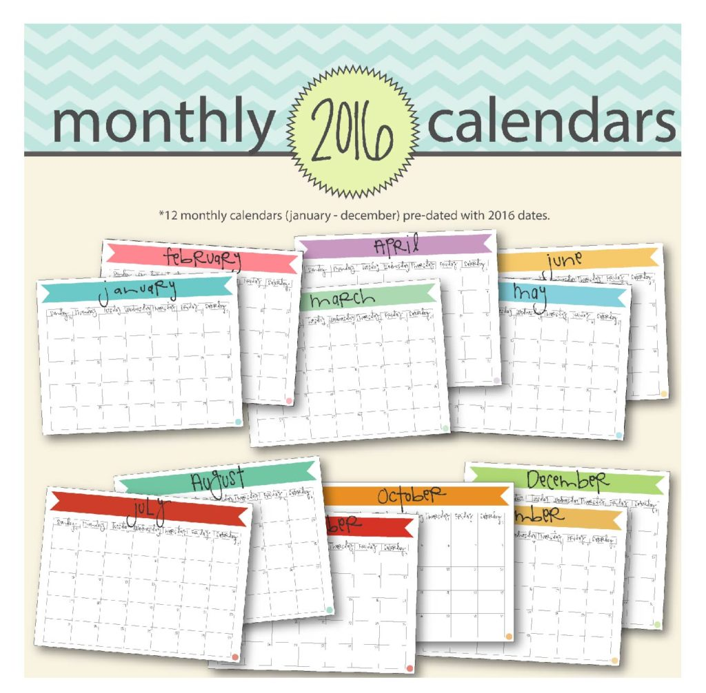 free printable 2016 monthly calendar a5 pages