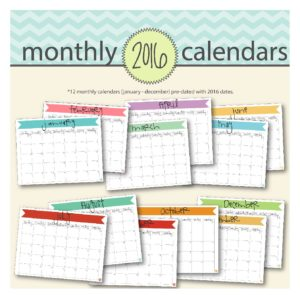 2016 banner calendars, available on etsy, for an organized year.