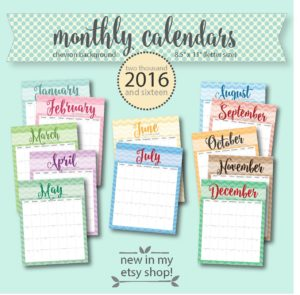 chevron 2016 monthly calendar set