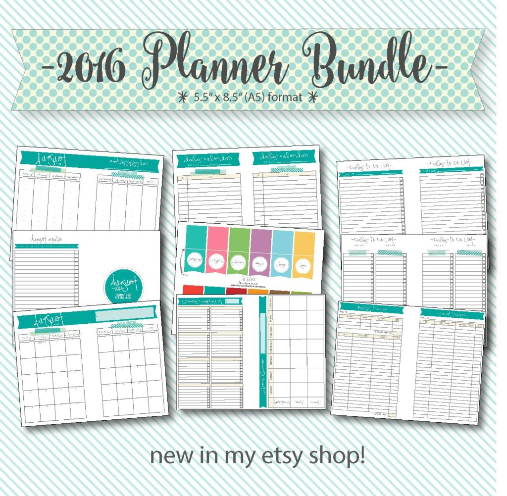2016 printable A5 planner bundle