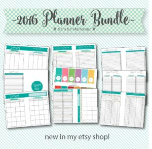 2016 printable A5 planner bundle