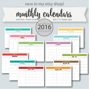 2016 planner monthly calendars (washi tape)