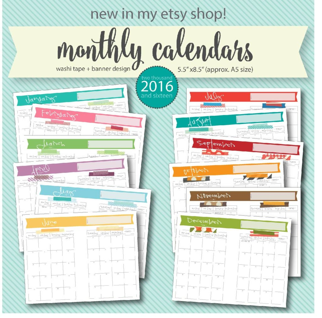 digital washi tape A5 printable calendars