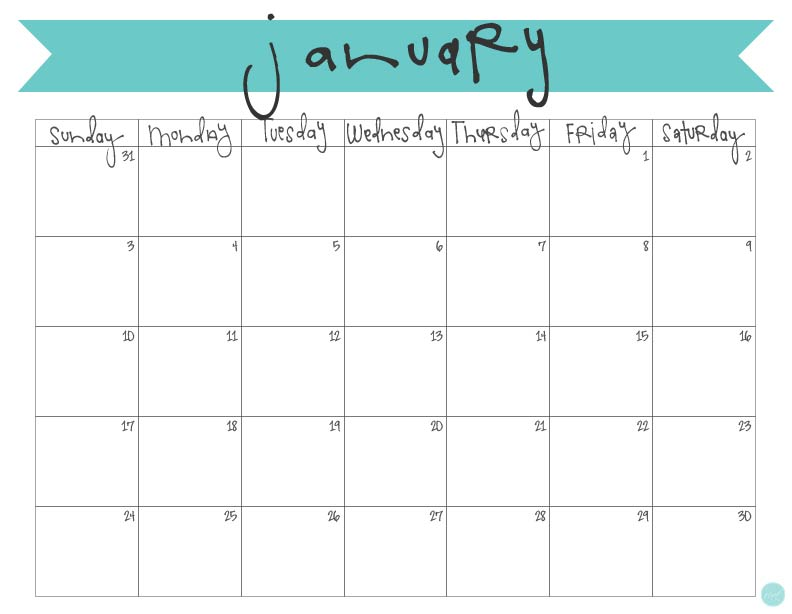 January 2016 calendar free printable live craft eat for Forever calendar template