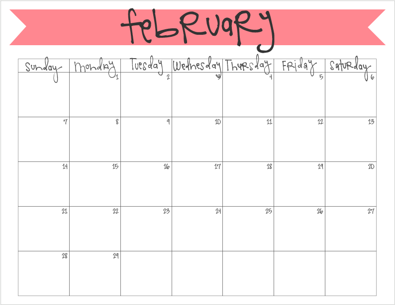 february 2016 printable monthly calendar - freebie!