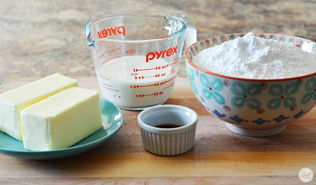 4 simple ingredients for amazing buttercream icing.