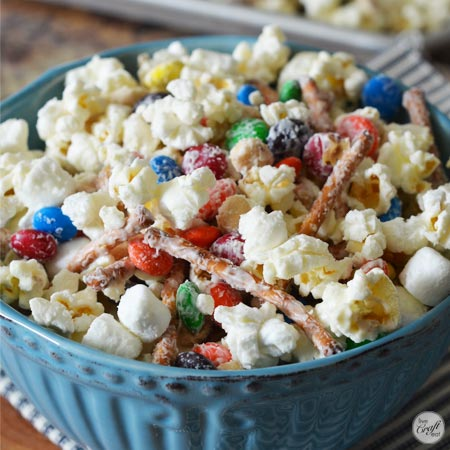 white chocolate m&m candy popcorn