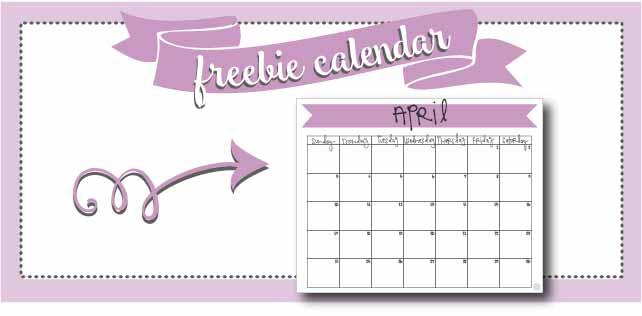 FREE printable april 2016 monthly calendar!