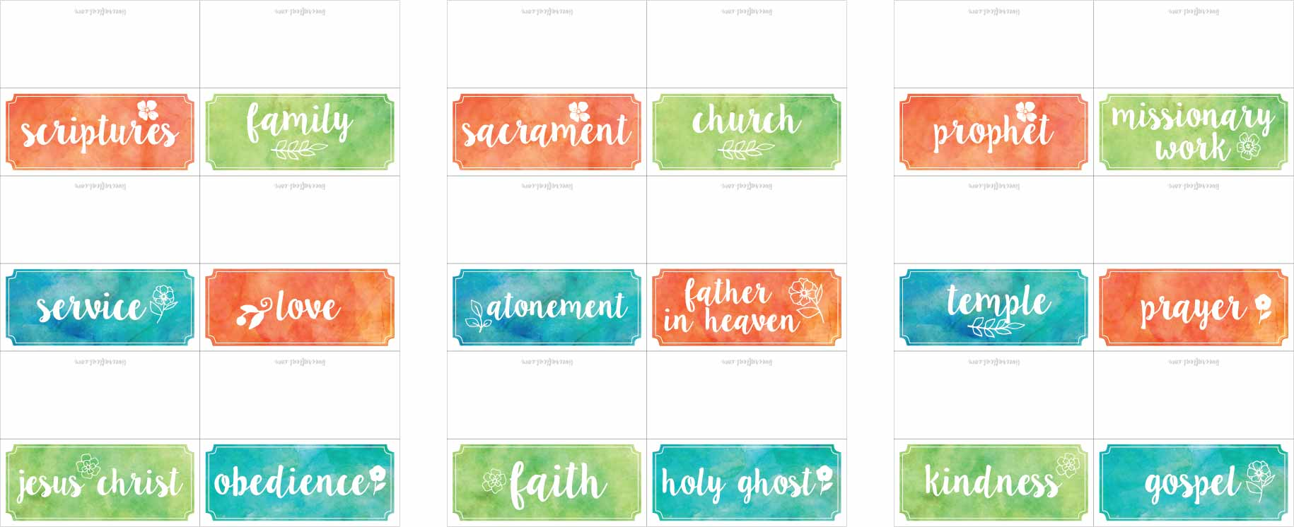 lds general conference candy bowl word tags - activity for kids