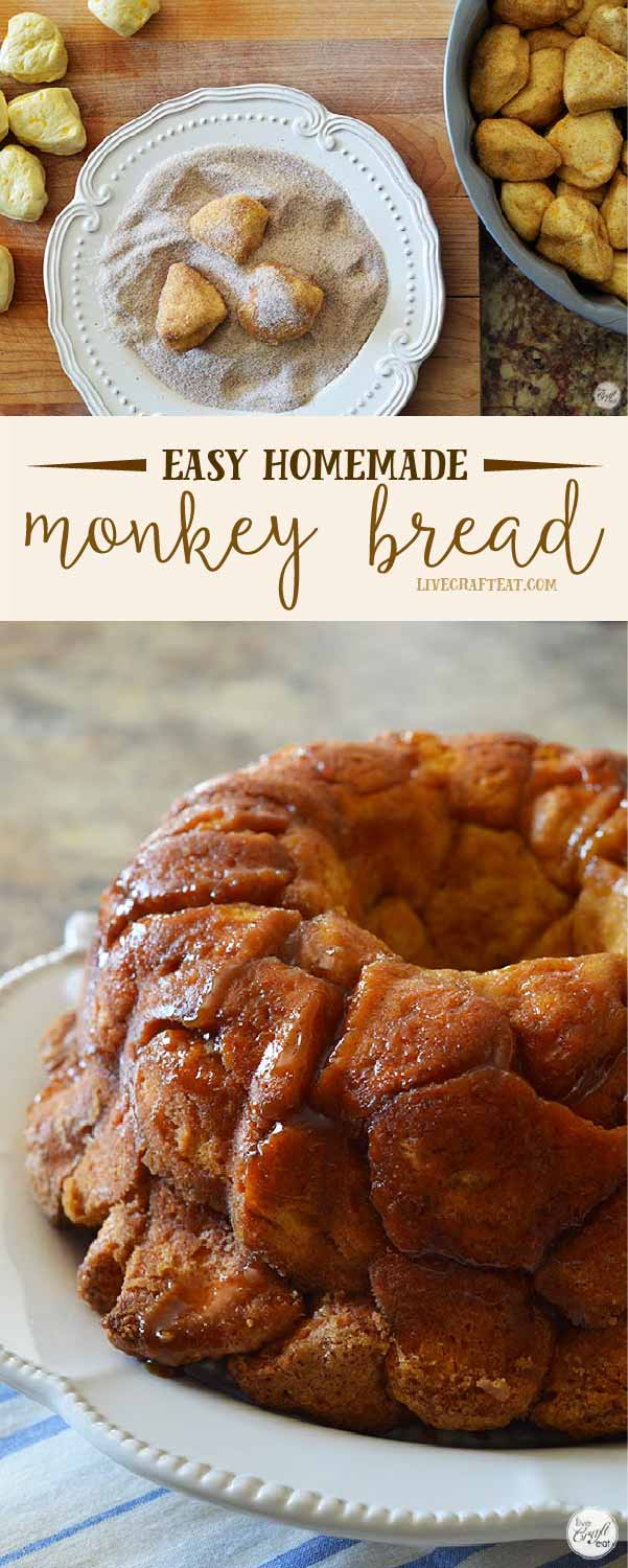 the easiest monkey bread recipe - only 5 ingredients and and less 45 minutes from start to deliciousness!