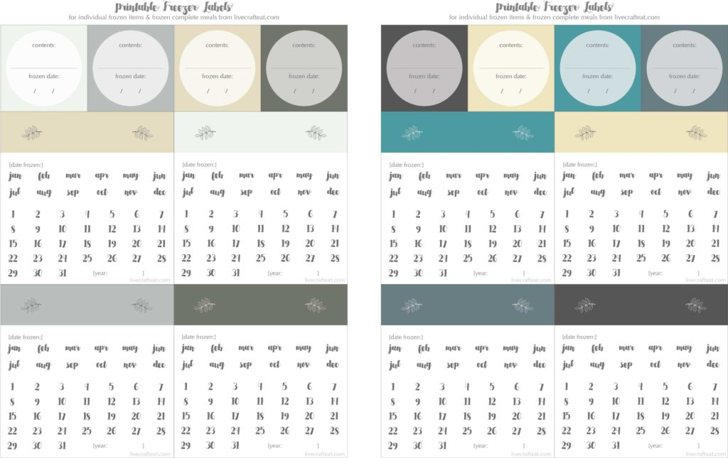 free printable freezer label calendars - circle the month and the day and write in the year to make sure your freezer stays organized and your food stays as fresh as possible!