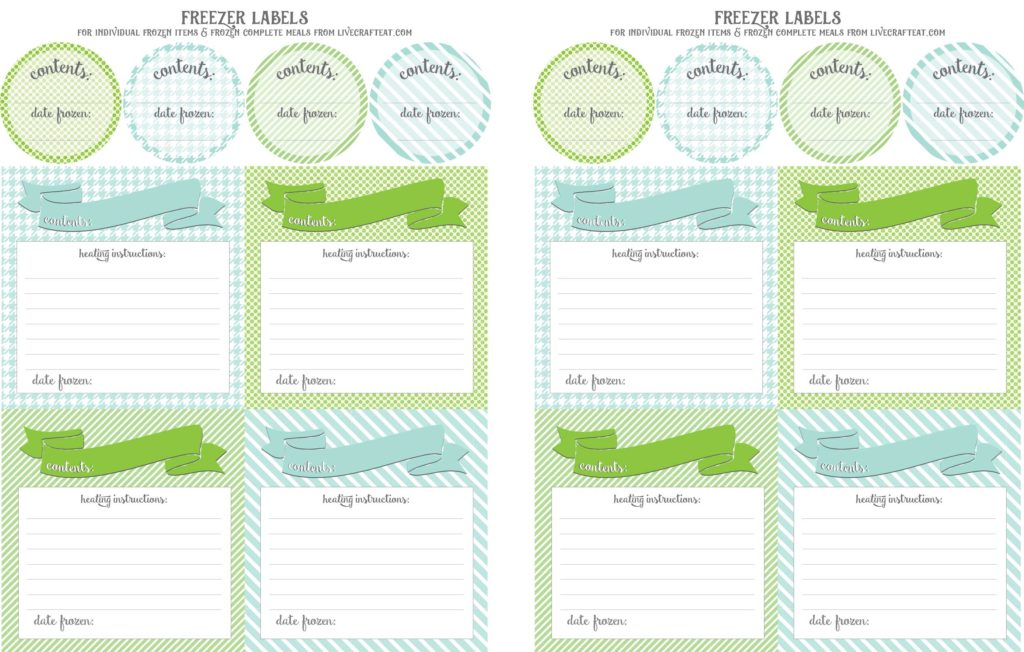fun (and FREE!) printable freezer labels for individual frozen items and other items like casseroles, etc.