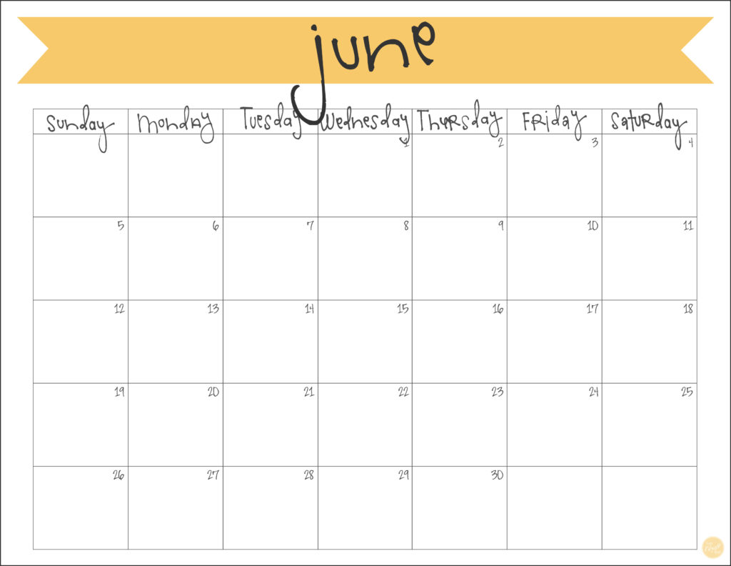freebie! free printable june 2016 monthly banner calendar.