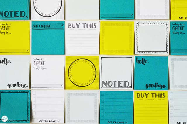 free template and printables - you can print on sticky notes a home!!