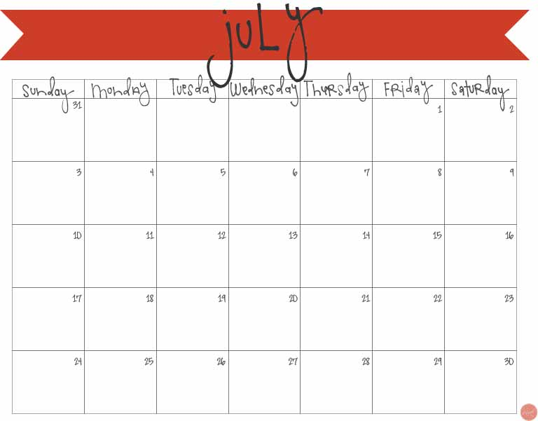 printable fill in calendar