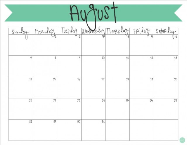 picture relating to Free Printable August Calendar identified as August 2016 Calendar - Totally free Printable Dwell Craft Take in