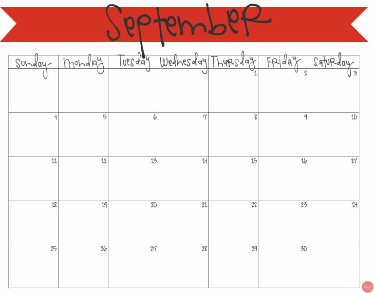 free printable september 2016 calendar!