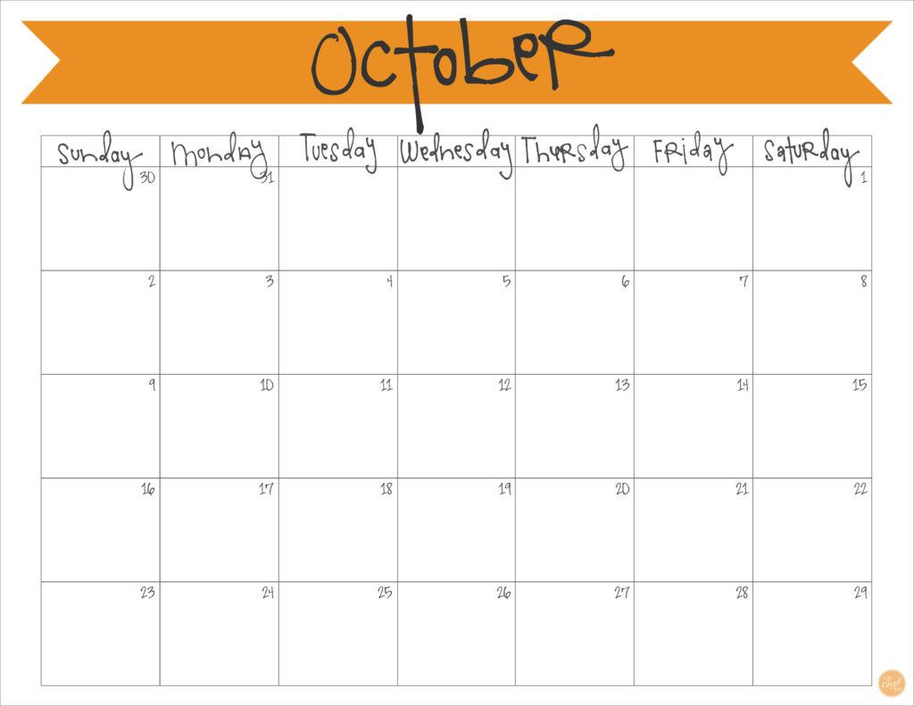 Blank Calendar October : October calendar free printable live craft eat