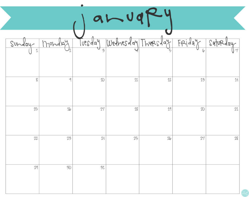 January 2017 Calendar - Free Printable | Live Craft Eat