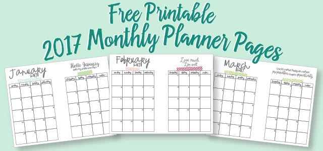 free printable A5 size planner pages for 2017.