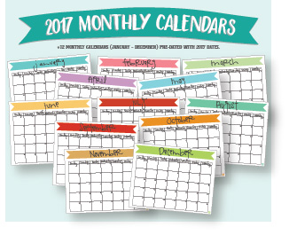 etsy :: 2017 monthly calendars