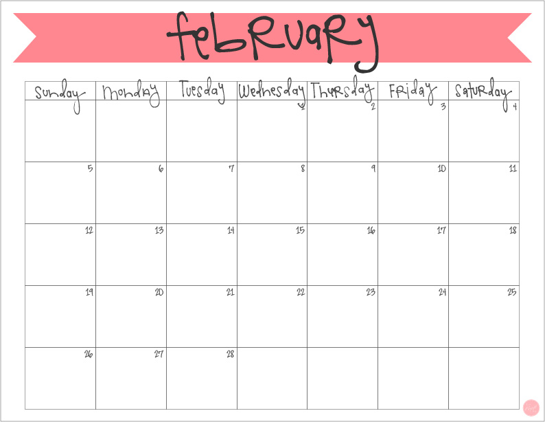 "free printable february 2017 monthly calendar 8.5""x11"" - easy to just download and print and get organized!"
