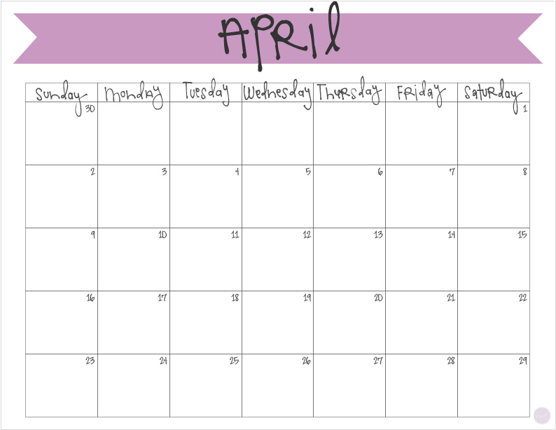 free printable april 2017 calendar! a cute way to organize your month!