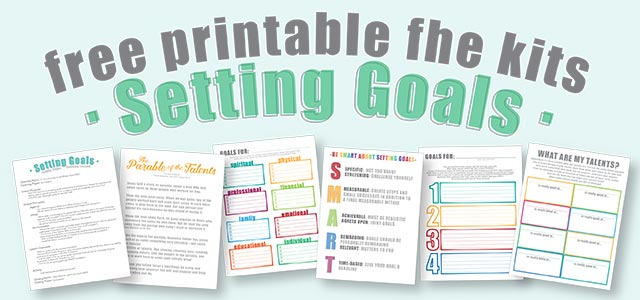 free family home evening kit :: setting goals. printable fhe kits for both younger kids and older kids/teenagers.