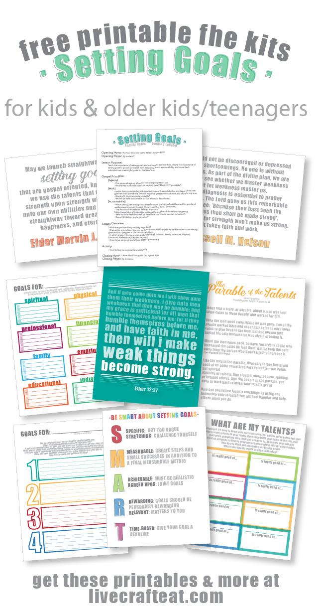 looking for a great way to teach your kids & older kids/teenagers about goal setting? get these free printable family home evening kits! there are 2 sets: one for older kids/teenagers, and a more simplified version for younger kids. each kit includes suggestions for scriptures, quotes, stories/talks, handouts, songs, and activities. all of them free and printable, of course!!