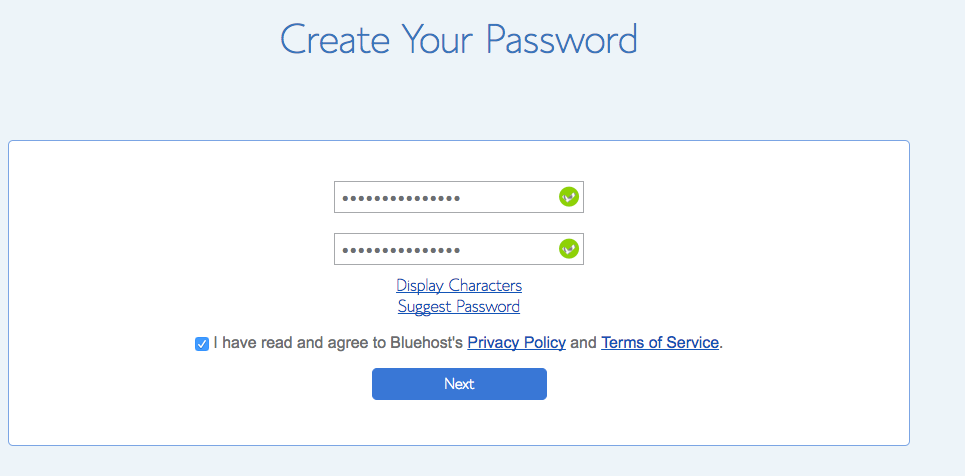 Step 8 Create a Password